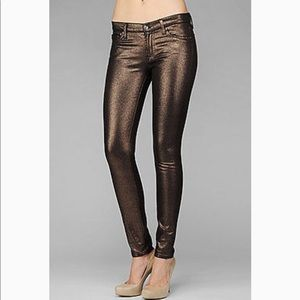 7FAMK Copper coated skinny jeans metallic mid rise